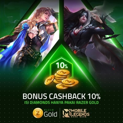 Blog CASHBACK 10%  ISI DIAMONDS MLBB PAKAI RAZER GOLD Juragan Cash